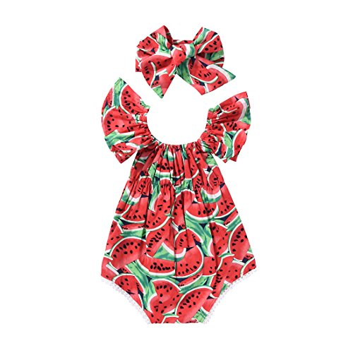 (Scfcloth Newborn Baby Girls Clothes Watermelon Print Lace Ruffle Backless Romper Jumpsuit with Headband)