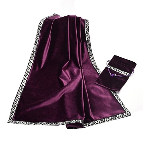 Gothic Altar Tarot Card Table Cloth with Tarot Pouch Divination Wicca Velvet Tapestry (Purple) (Altar Tapestry Cloth)