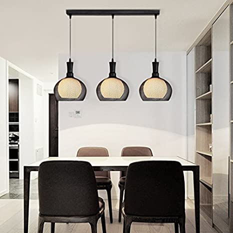 Continental Three Wire Glass Lamp Shades Living Room Dining Room Chandelier  Art Lights , Black Three
