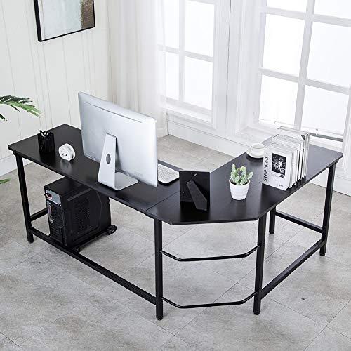 Ulikit Modern L Shaped Computer Desk Corner Gaming Desk Computer Table Workstation Office Wood Top Desk Black 66 x 49 x 29
