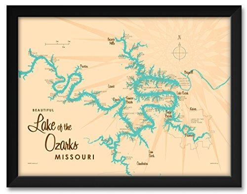 - Northwest Art Mall Lake of the Ozarks Missouri Map Framed Art Print by Lakebound Print Size: 18