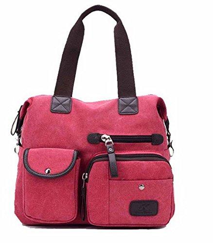 AgooLar Mujeres Casual Compras Bolsos Cruzados Cremalleras Bolsas de Mano,GMXBB180730 Rojo