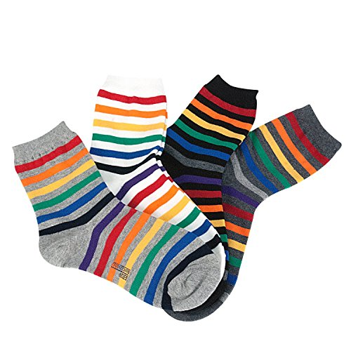 DearMy Women Colorful Fancy Design Novelty Cotton Rainbow Crew Socks for Women (Color Line 4 Pairs)