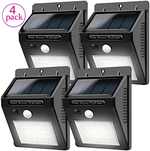 XINYUKEJIk-Solar Lights Wireless Waterproof Motion Sensor Outdoor Light for Patio, Deck, Yard, Garden with Motion Activated Auto On Off 4 Packs
