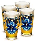 Pint Glasses – EMT Paramedic Gifts for Men or Women – EMT Beer Glassware – Hero's EMS Beer Glasses with Logo - Set of 4 (16 Oz)