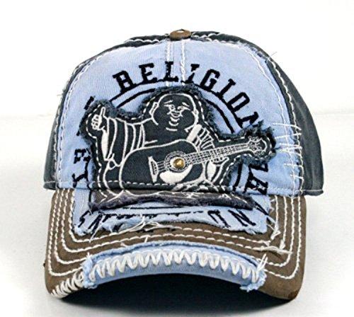 - True Religion New Big Buddha Distressed Army Trucker Hat Cap/Tr#1101 (Dark Navy)
