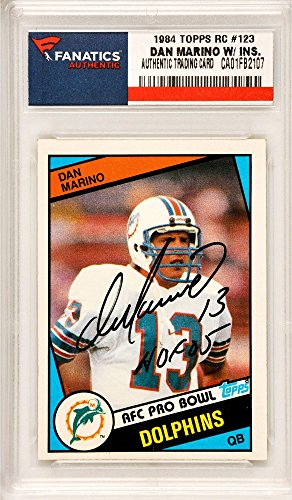 cc5cefae6a6 Dan Marino Miami Dolphins Autographed 1984 Topps Rookie #123 Card with HOF  05 Inscription -