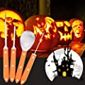 4 Piece Pumpkin Carving Tools Kit, Stainless Steel .Professional Quality, Free 10 Carving Patterns/Stencils for Halloween Jack-O-Lanterns, Thanksgiving