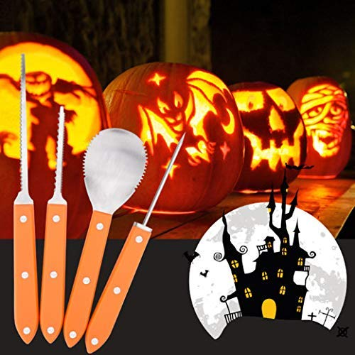 4 Piece Pumpkin Carving Tools Kit, Stainless Steel .Professional Quality, Free 10 Carving Patterns/Stencils for Halloween Jack-O-Lanterns, Thanksgiving -