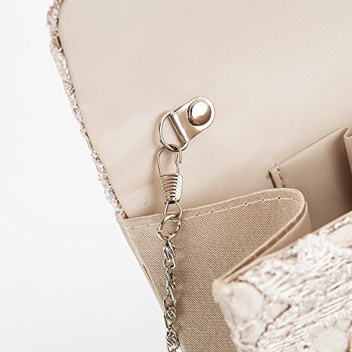 Clutch Women Bag Party Date Bag Lace Evening Bag champage Women Bridal Ladies for Wedding with Handbag Envelope Chain qREUBwyW4