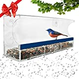 window bird feeder one way mirror - Nature's Outpost Window Bird Feeder | One Way Mirror Film | Removable Tray with Drain Holes | Extra Strong Suction Cups | 100% Crystal Clear Acrylic | 20% Larger, 15x6 inch Panoramic View