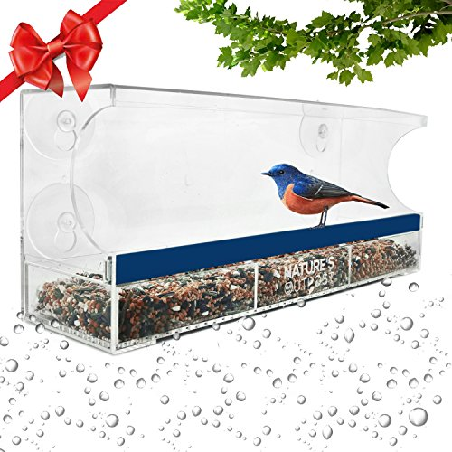 Nature's Outpost Window Bird Feeder | One Way Mirror Film | Removable Tray with Drain Holes | Extra Strong Suction Cups | 100% Crystal Clear Acrylic | 20% Larger, 15x6 - Birdhouse Feeder