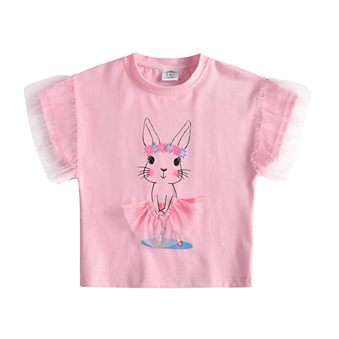 VIKITA Kinder Mädchen T Shirt Tops Baumwolle Kurzarm Cartoon