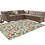 Doodle,Rug,Various Home Interior Elements Armchair Table Mirror Design Elements Doodle Style,Dining Room Home Bedroom Carpet Floor Mat,Multicolor Size:5'x6'