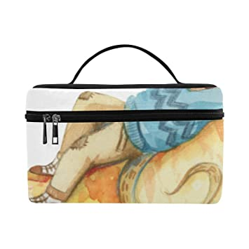 Little Cute Mouse Rat Animal Large Capacity Size Lady Cosmetic Bag Makeup Organizer Lunch Box Train