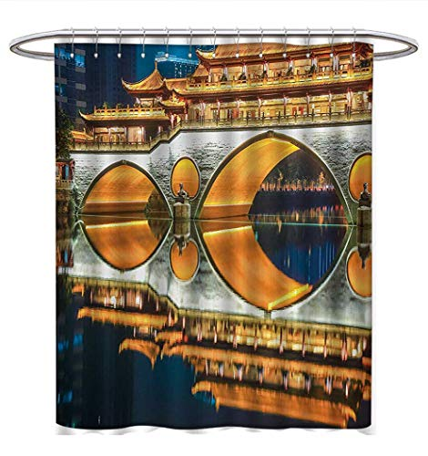 Anhuthree Landscape Shower Curtain Collection by Major Popular Big Bridge in Chinese City Monumental Classic Building Tower Photo Satin Fabric Sets Bathroom W69 x L84 -