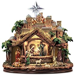 Thomas Kinkade Following the Star Nativity Scene with Music & Lights