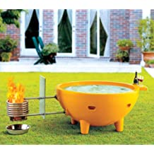 ALFI brand FireHotTub Round Fire Burning Portable Outdoor Fiberglass Soaking Hot Tub, Orange