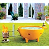 ALFI brand  FireHotTub-YE Round Fire Burning Portable Outdoor Fiberglass Soaking Hot Tub, Yellow
