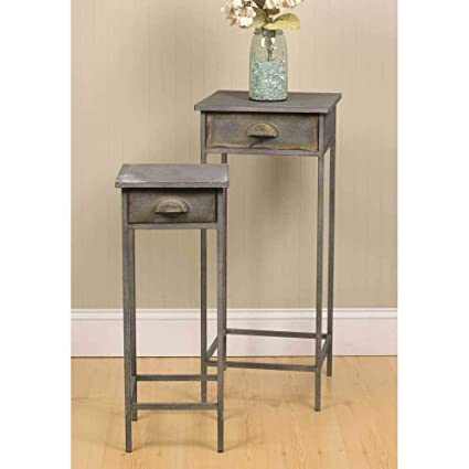 premium selection 915a2 520af PH 2 Piece 30 Inch Grey Accent Table, Bohemian Style Indoor Nesting Tables  Eclectic Style Square Shaped Plant Stands Adorable Pair of End Tables ...