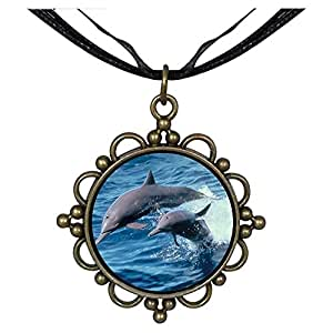 Chicforest Bronze Retro Style Two Cute Jump Dolphin Round Flower Pendant