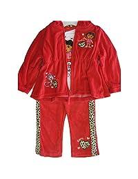 Disney Little Girls Red Dora the Explorer Leopard Spot 3 Pc Pants Set 4-6X