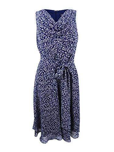 Jessica Howard Women's Petite Drape Neck Fit and Flare Dress, Navy/Ivory, 10P