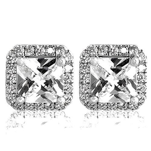 Flame Princess Costume Ideas (Pop Fashion 18k Gold Princess Cut Cubic Zirconia Bridal Halo Silver Stud Earrings)