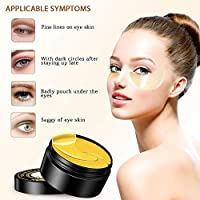 Under Eye Patches,PHOEBE 24K Gold Under Eye Bags Treatment Masks,Under Eye  Mask Reduces Dark Circles,Eye Mask for Puffy Eyes,Under Eye Gel Patches