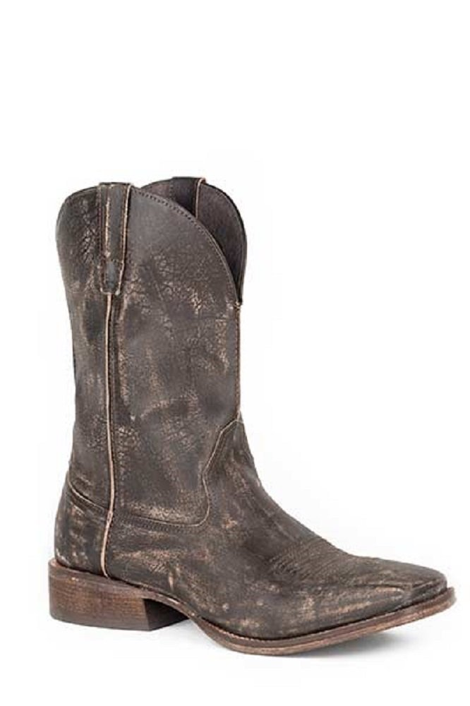 Roper Men's Size 13 Distressed DUSTY Sanded Brown Leather Padded Insole Square Toe Pull On Boots