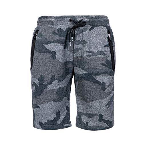 Mens Camo Fleece Sweatpant Shorts Youth Joggers Gym Workout Shorts with Zip Pockets Grey Camo Medium