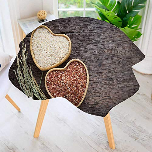 PRUNUS Round Tablecloth-Organic Rice Grain Brown Rice in Heart Shape Bamboo Basket Round Circular Solid Polyester Tablecloth 67