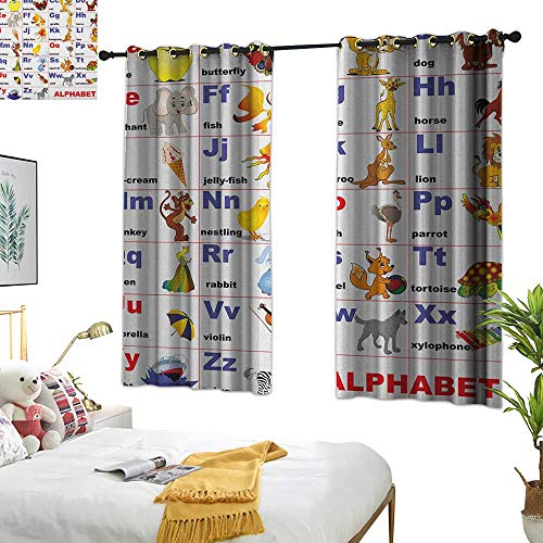 (fabric shower curtain liner Educational,Animals Placed on Letter of the Alphabet Teachers Chart Classroom Kindergarten, Multicolor 63