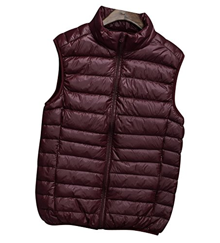 Down Zipper Gilet Stand Mens Quilted Collar Red Jackets Down Gilets ISSHE Filled Sleeveless Down Vest Pockets Puffa Lightweight Puffer Bodywarmer Gilet Winter Bodywarmers Jacket Gilet Packable Padded Wine TfxgPnxd