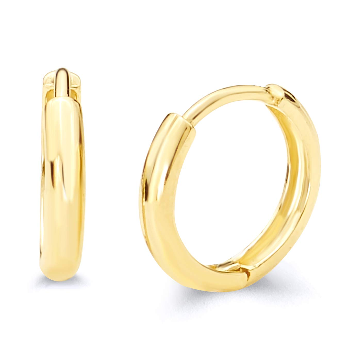 14k Yellow Gold 2mm Thickness Huggie Earrings (10 x 10 mm) by The World Jewelry Center