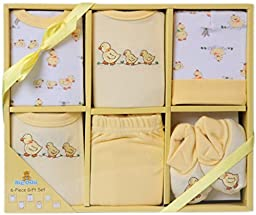 Big Oshi Baby Infants 6 Piece Layette Gift Set, Yellow, 0-6 Months