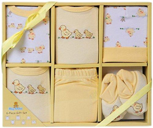 Unisex Layette (Big Oshi Baby Infants 6 Piece Layette Gift Set, Yellow, 0-6)