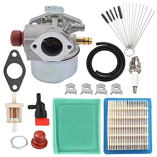 (Hayskill 640025 640004 Carburetor w Air Filter Tune Up Kit for Tecumseh OHH45 OHH50 OHH55 OHH60 OHH65 Engine Lawn Mower Carb Replace 640117B 640014 640017B 640117 )
