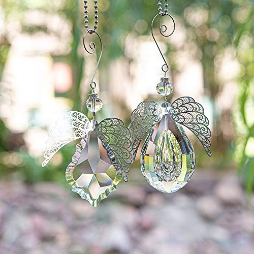 Clear Angel Crystal Prism - Window Prism Rainbow Large Crystal Suncatcher for Windows Outdoor Garden Christmas Hanging Decor Set of 2 (Angel Wings)