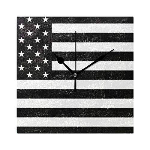 HangWang Wall Clock Us Flag Black and White Silent Non Ticking Decorative Square Digital Clocks Indoor Outdoor Kitchen Bedroom Living Room