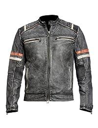 Cafe Racer Retro Vintage Biker Classic Motorcycle Black Real Leather Jacket