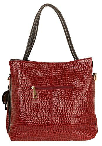 Ilan Fernandez Damen Shoulder Bag Rot-Schwarz A-117-RED