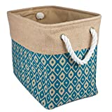 DII Collapsible Burlap Storage Basket or Bin with Durable Cotton Handles, Home Organizational Solution for Office, Bedroom, Closet, Toys, & Laundry (Large – 18x12x15'), Teal Ikat
