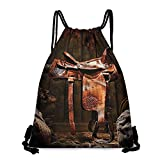Swimming backpack Western Decor Collection Rodeo Cowboy Leather Western Saddle on Wood Beam in Rustic Ranch Wood Barn Picture Lightweight W14'x L18' Dark Brown