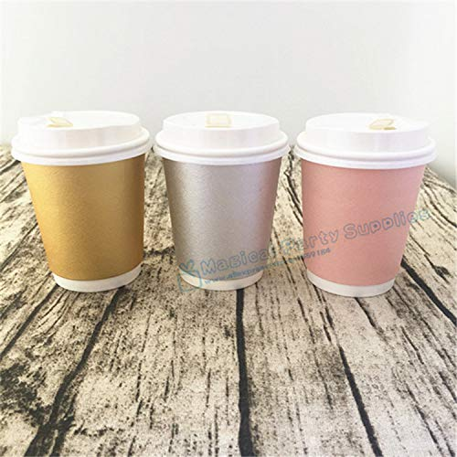 (Best Quality - Disposable Party Tableware - 90pcs Mixed with Foil Pink Gold Silver Paper Cup with White Black Lid 2-layer Cups for Hot/Gold Drinkings Wedding Baby Shower - by PPL88-1 PCs)