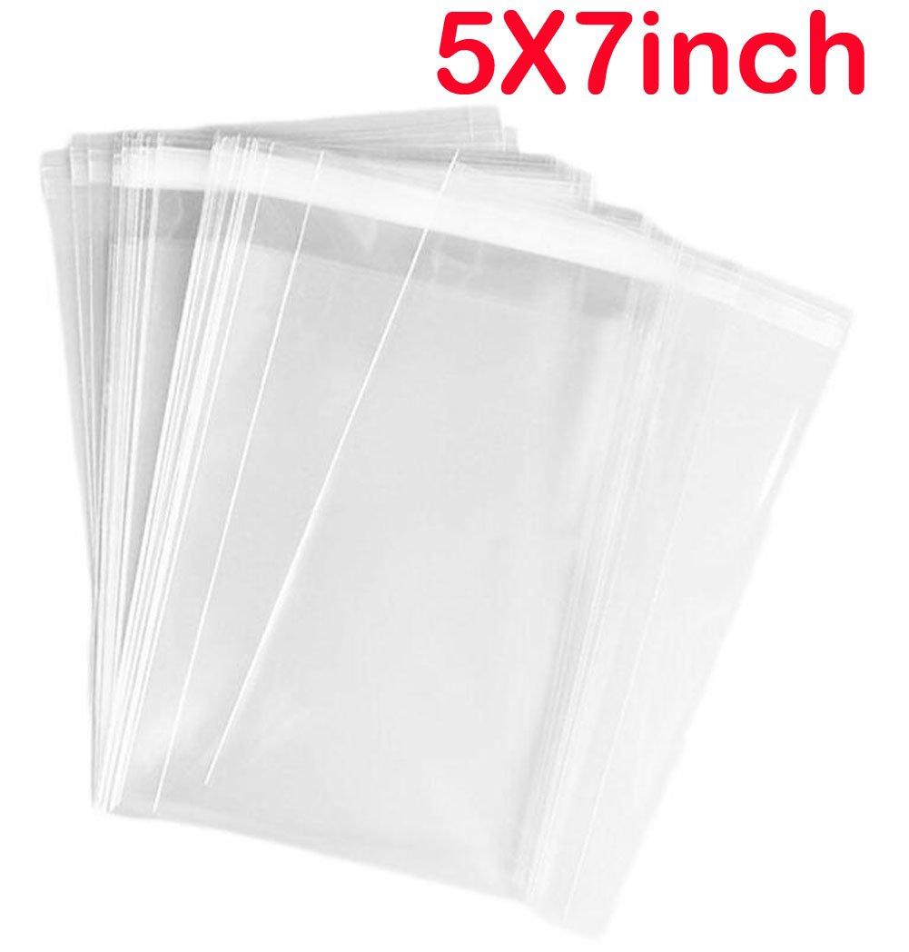 Tupwel 100pcs 12, 7x 17, 8cm trasparente piatto violoncello sacchetti in cellophane con chiusura adesiva per pane caramelle regalo imballaggio bomboniere Wrap wedding campioni di stoccaggio alimentare sacchetto di plastica