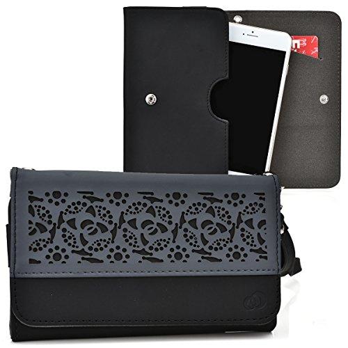Kroo® Deco Two-tone Black   Grey Smartphone Wallet with Bonus Wrist-let fits Nokia Lumia 830