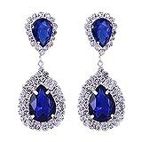 mecresh Blue Teardrop Austrian Crystal Bridal Dangle Earring