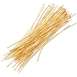 Beadaholique 50-Piece Head Pins, 22-Gauge, 2-Inch, 22K Gold