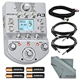 Zoom A3 Pre-Amp and Effects Pedal for Acoustic Guitar Bundle with Cables + Batteries + Fibertique Cloth